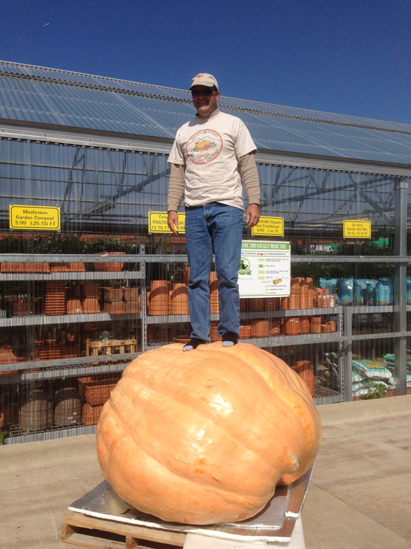 Standing on Giant Pumpkin